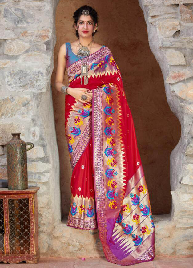 Current Tulle Red Color Silk Saree For Present Day