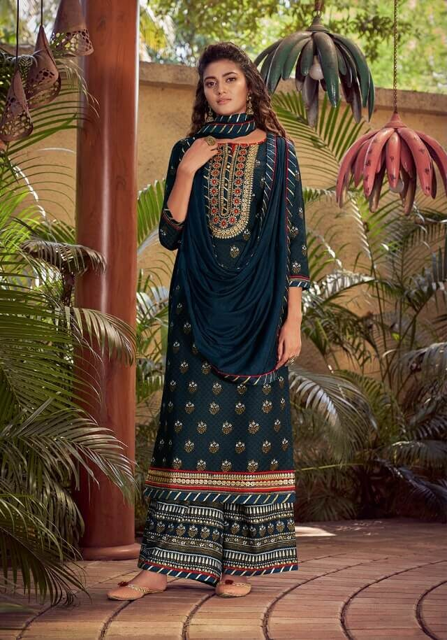Designer Navy Blue Readymade Plazo Suit