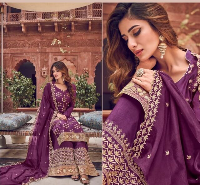 Designer Purple Palazzo Suits Party Wear Online