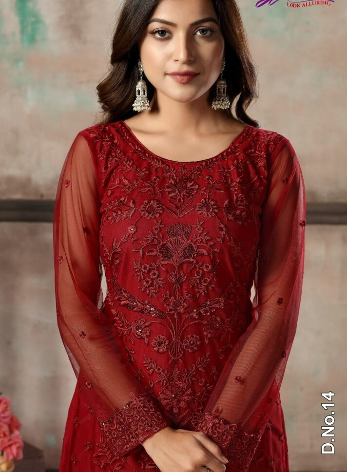 Embroidered Net Salwar Suits Latest Fashion