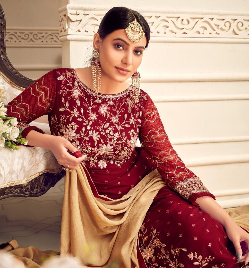 Heavy Embroidery Red Salwar Suits with Price
