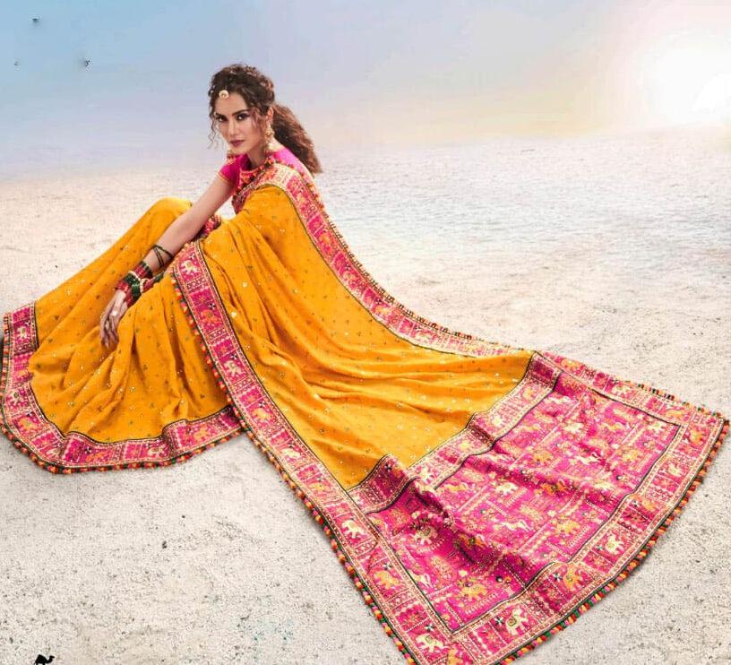 Heavy Work Designer Jaipuri Bandhani Saree New Bride