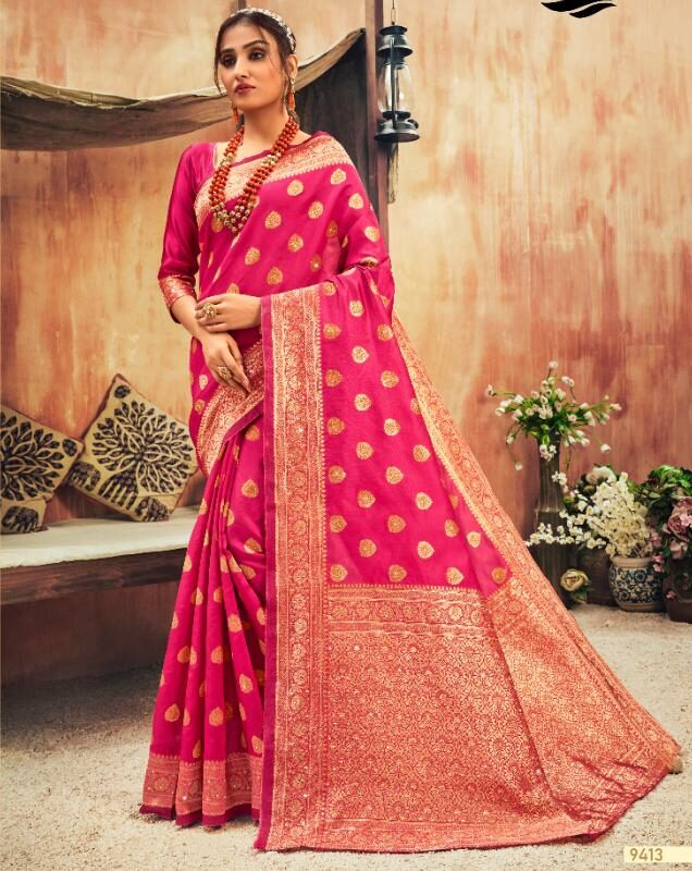 Hot Pink Wedding Silk Sarees Below 2000