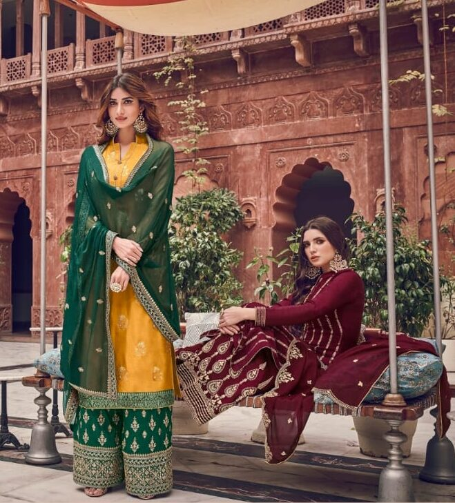 Ladies Suits for Weddings Yellow and Green Combinations