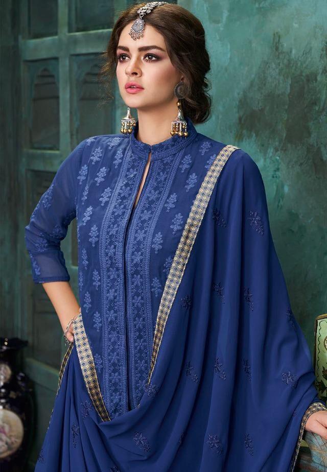 Lakhnavi Embroidered Soft Georgette Palazo Salwar Suits