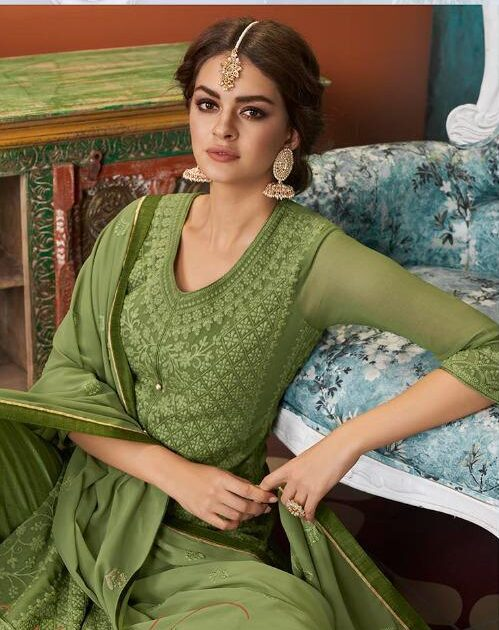 Lakhnavi Salwar Suit with Price in Mehndi Green