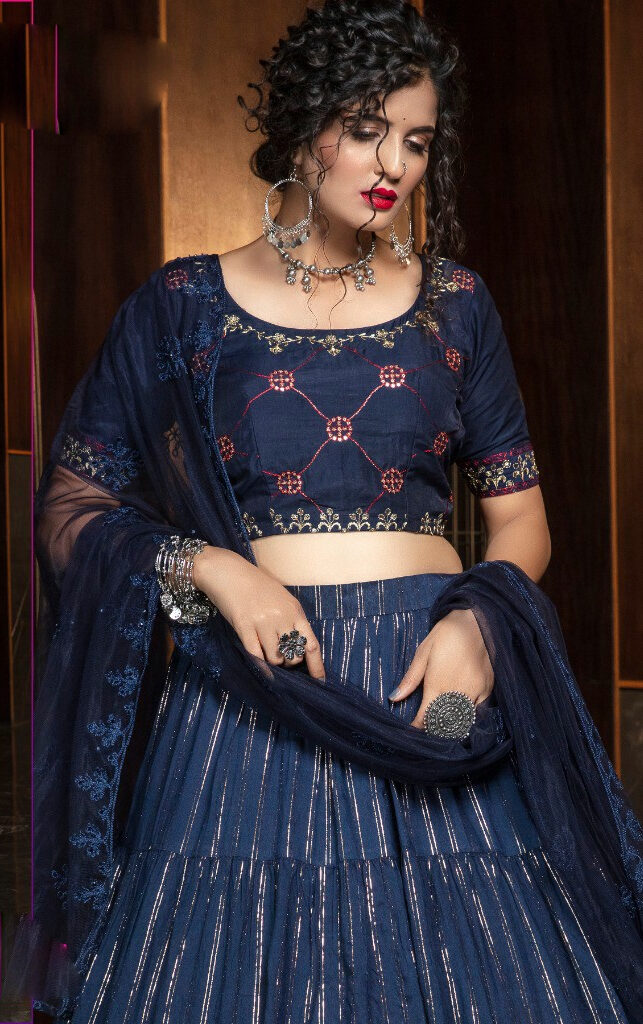 Latest Designer Blue Colour Casual Lehenga Choli