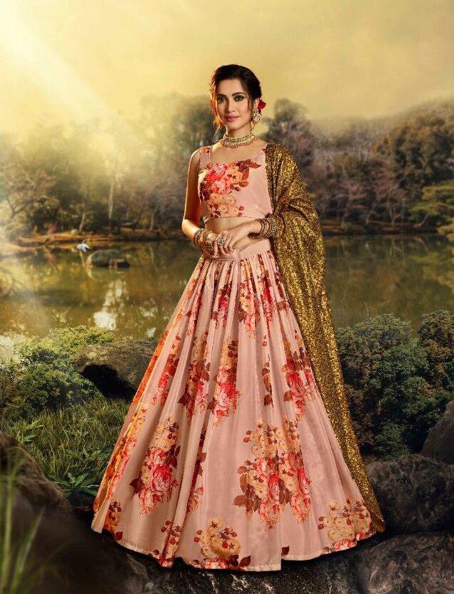Latest Designer Floral Print Lehenga Skirt 2020