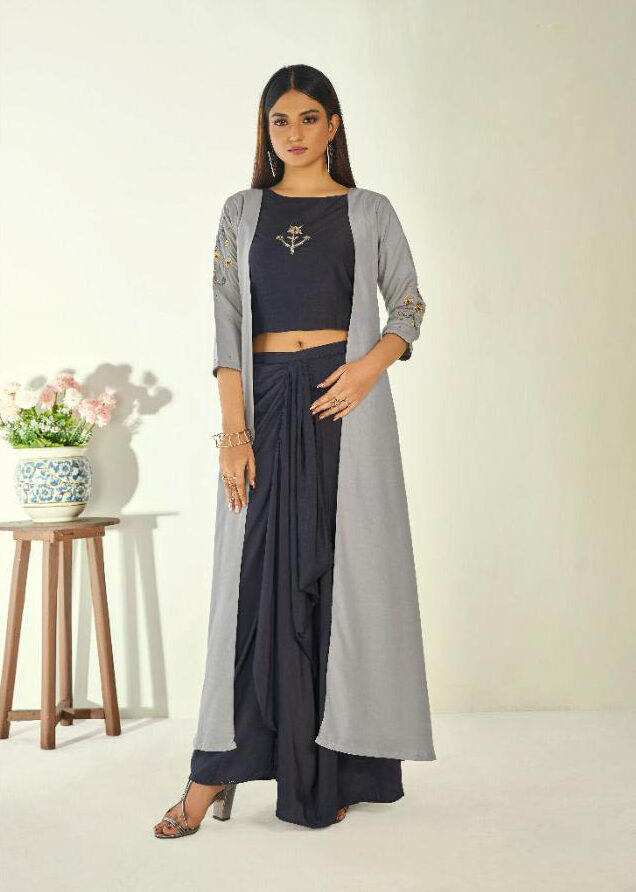 Latest Mode Creator Grey Color Gown Style Long Kurti.