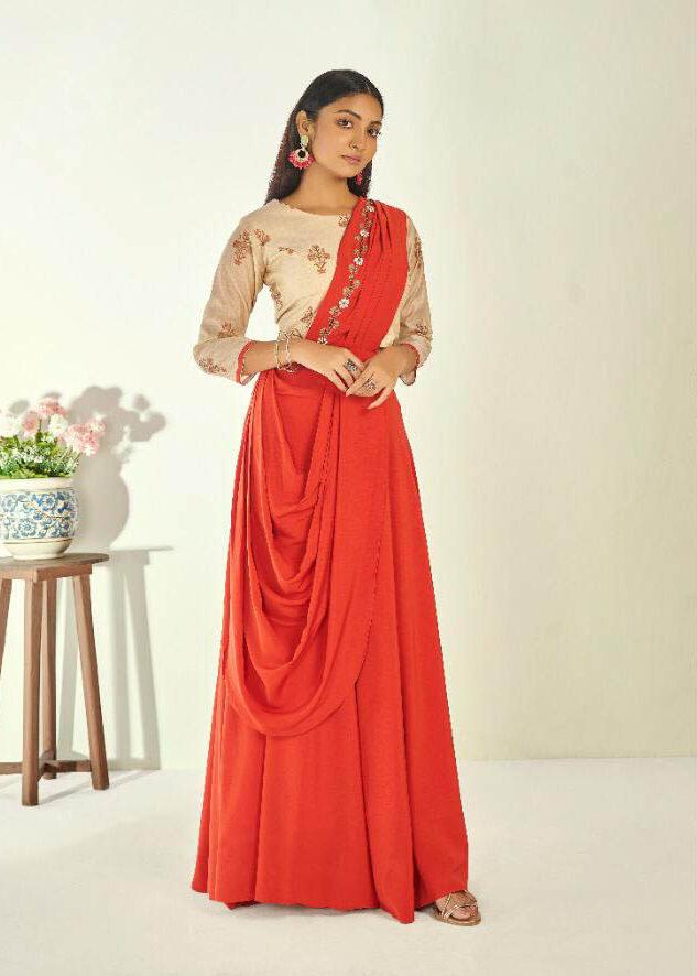 Latest Mode Creator Orange Color Saree Style Long Kurti.