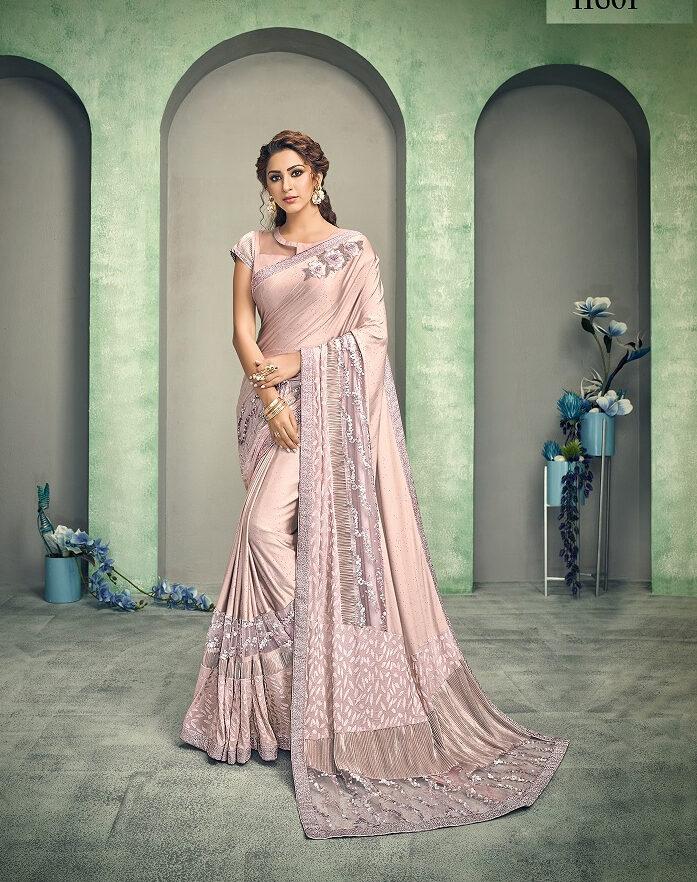 Mistyrose Colour Exclusive Blouse Designer Saree Party Wear
