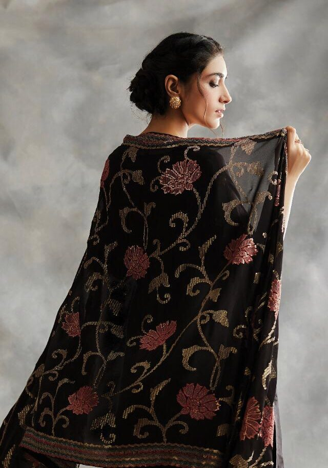New Best Embroidered Black Color Chiffon Suit Online