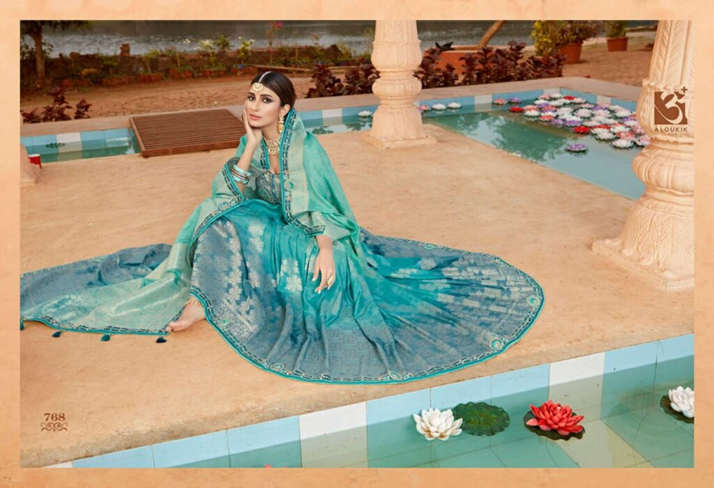 New Best Trend Designer Sky Blue Silk Saree With Blouse