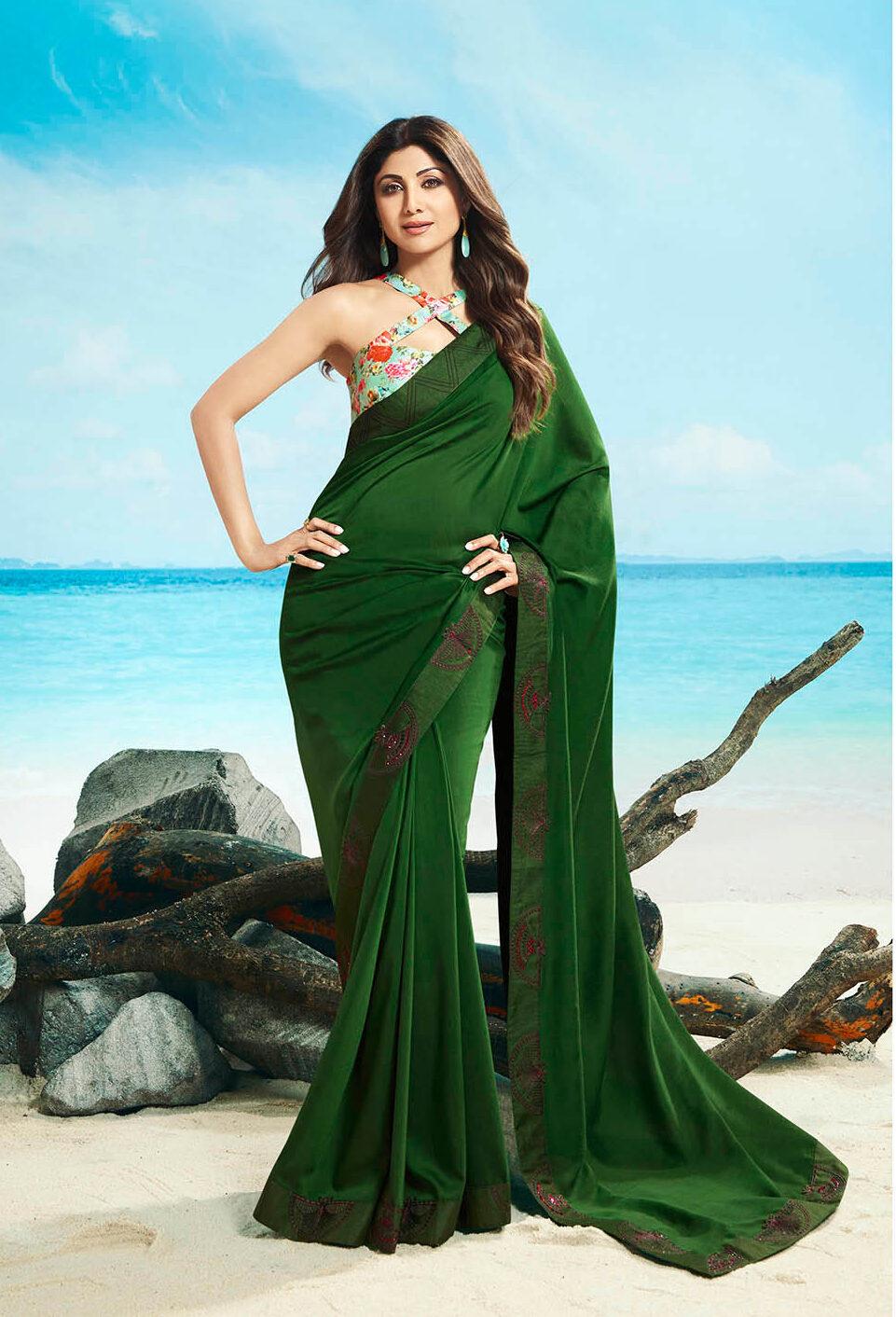 New Best trending designer green color simple saree.