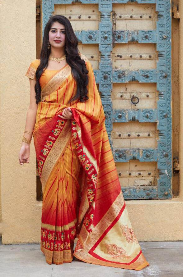 New Brand Tulle Haldi orange Color Silk Saree With Blouse