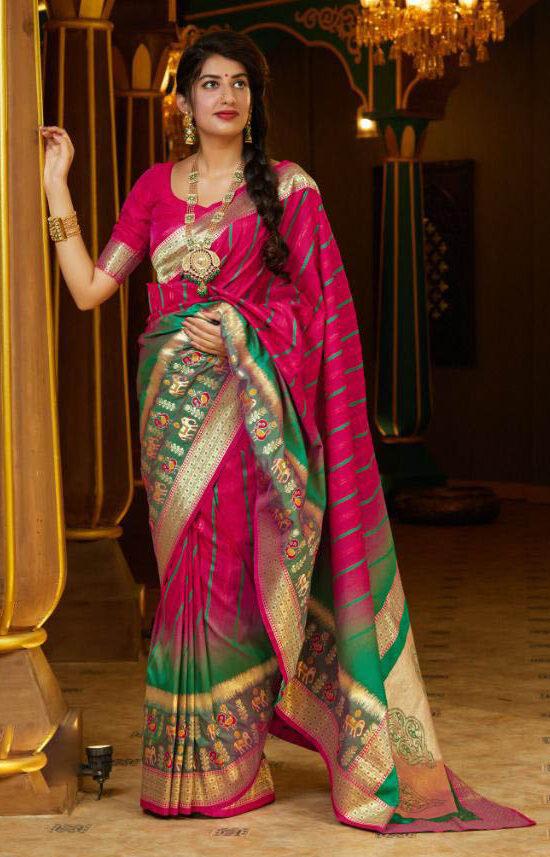 New Creator Tulle fancy Pink Pigmentation Silk Saree.