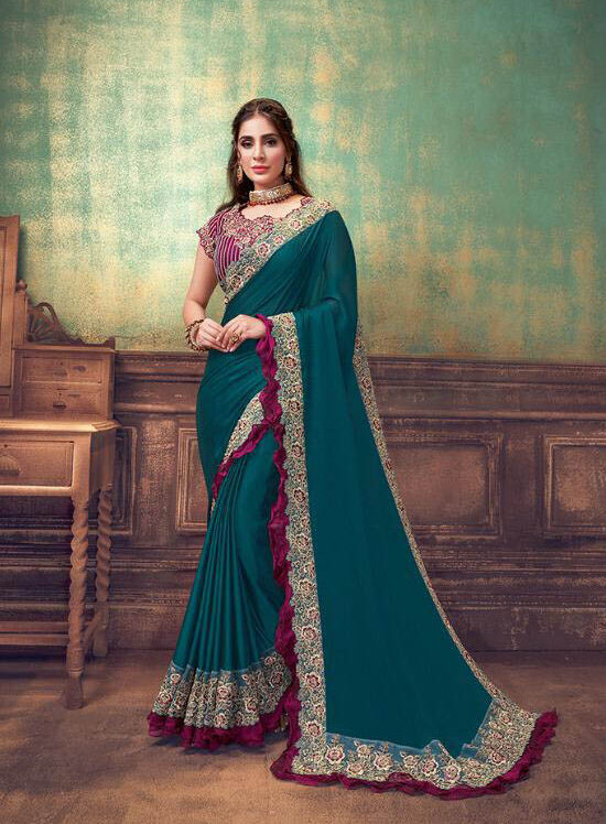 New Designer Blue Color Best Bridal Georgette Saree With Blouse