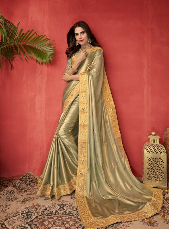 New Indian Style Maker Light Grey Color Matrimony saree