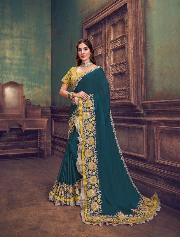 New Producer Teal Blue Georgette Saree with Raw Silk Blouse