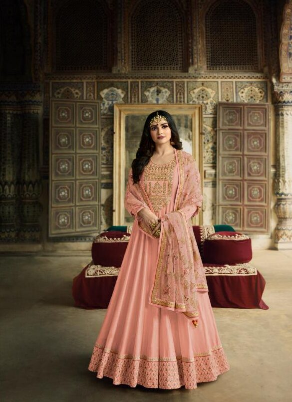 New Traditional Light Pink Color Embroidery Work Salwar Suit