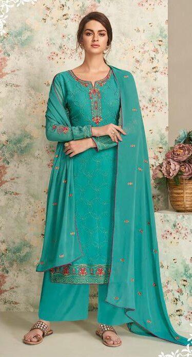 New Trend Designer Nevi Blue Dull Santoon Georgette Work Suit.