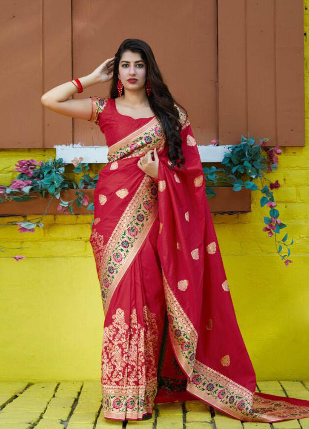 New Trend Designer Red Color silk Saree With Blouse
