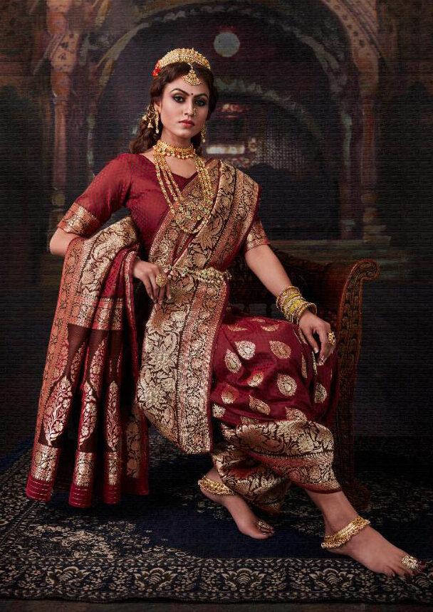 New Trend designer Maroon Color Royal Banarsi Silk Saree