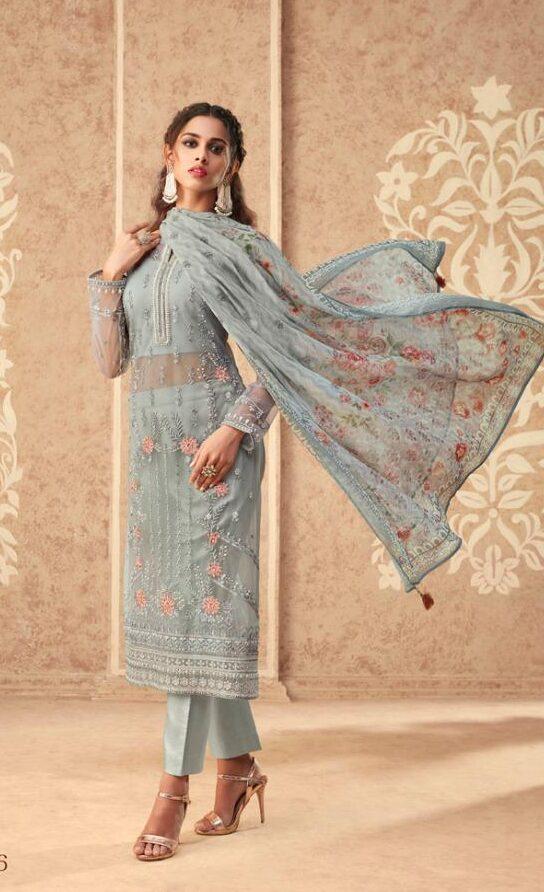 New designer banglori silk suit with chiffon printed dupatta online