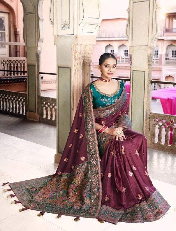 New designer best embroidered bridal saree with contrast blouse