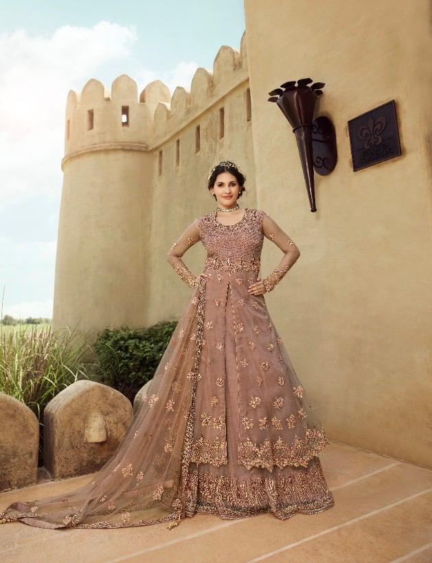 New designer best embroidered gown light pink color with a price.