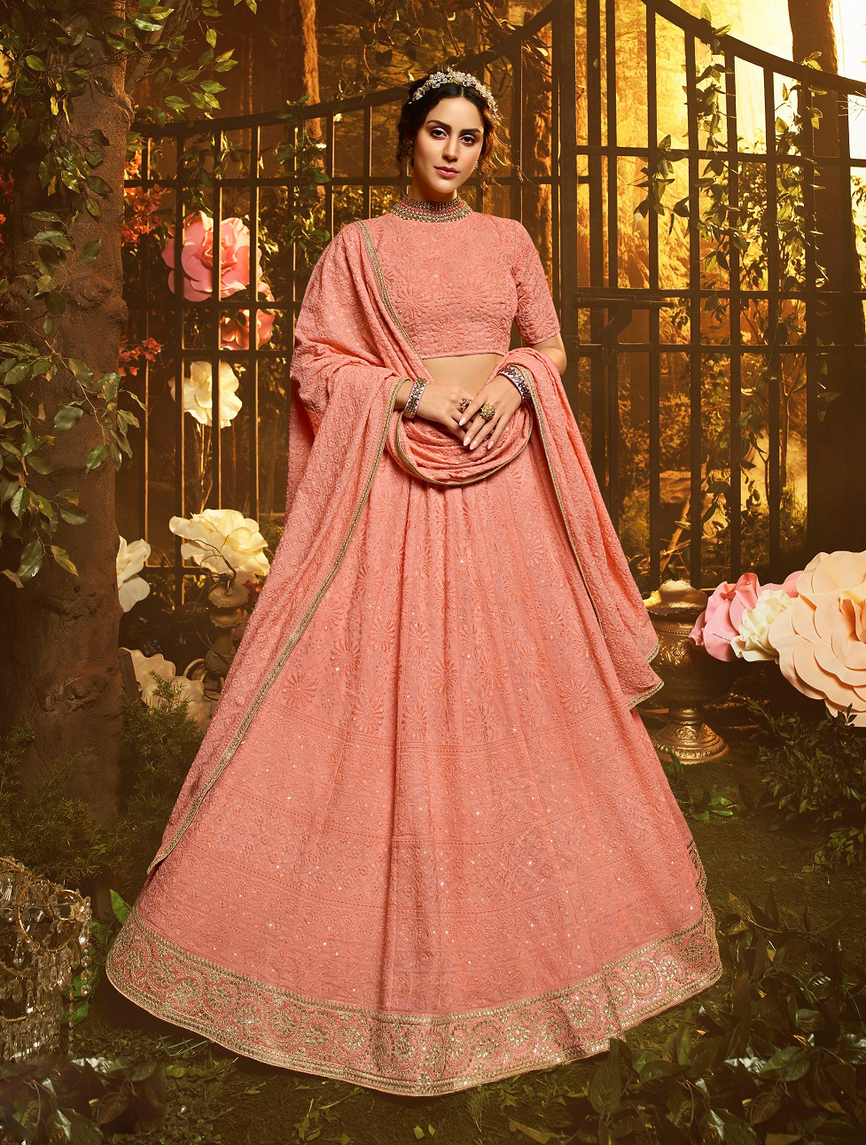 New designer best georgetee pink color gown and soft net dupatta.