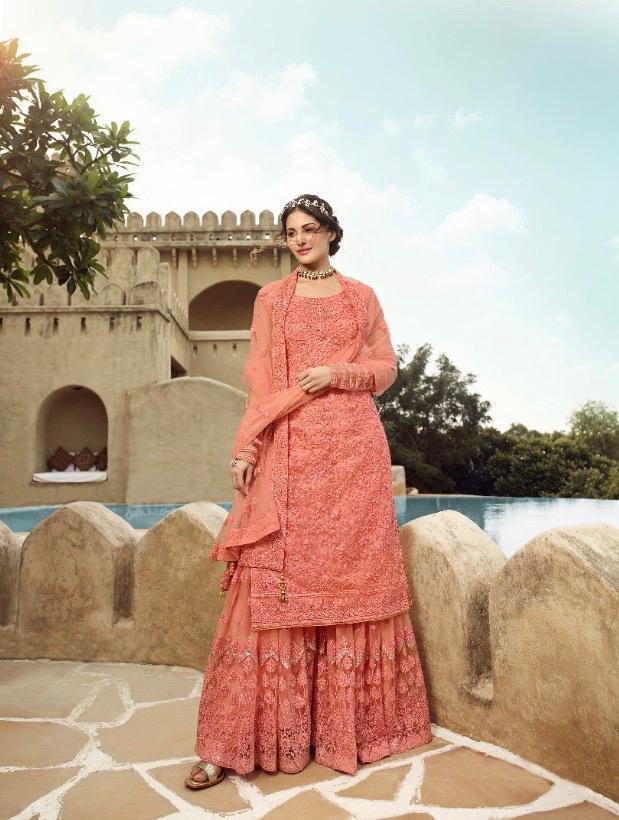 New designer best georgette pink color gown and soft net dupatta