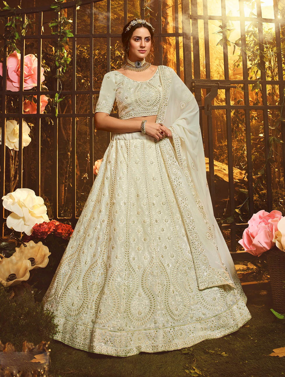 New designer best georgette white color gown with a soft net white dupatta.