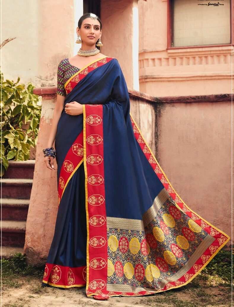 New Designer Blue Color Bridal Saree With Digital Printed Blouse