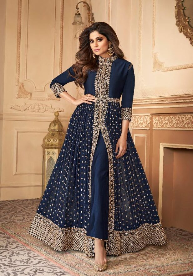 New designer blue color dull santoon long suit.