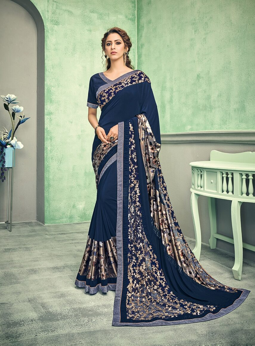 New designer blue color Resham work saree for festival outfits