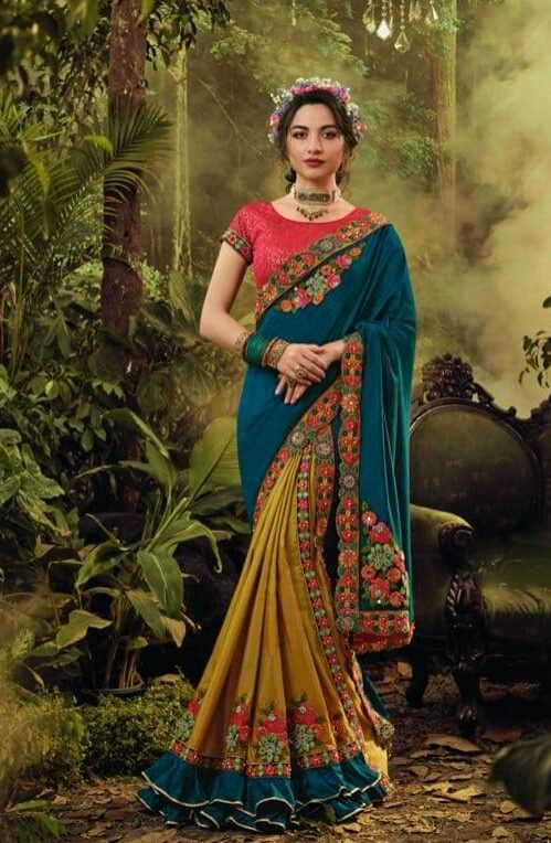 New designer bridal fancy saree with fancy blouse online