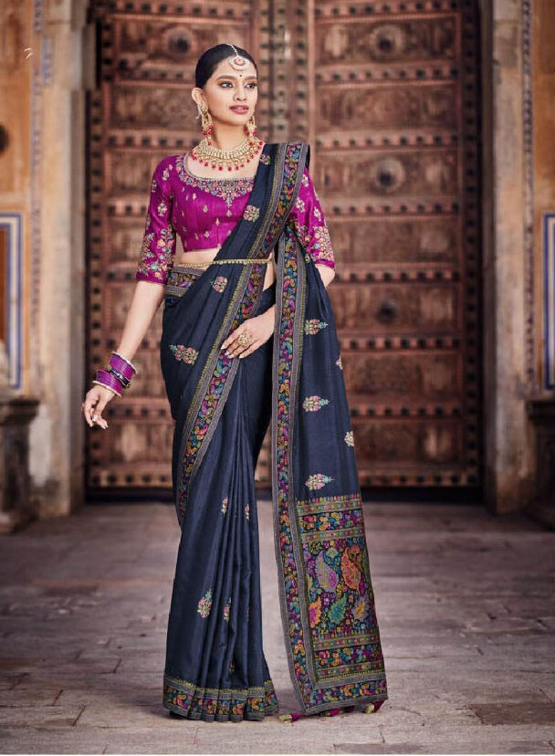 New designer dola silk grey color bridal saree online