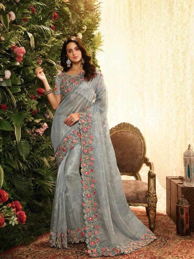 New designer light grey color heavy silk saree with price.