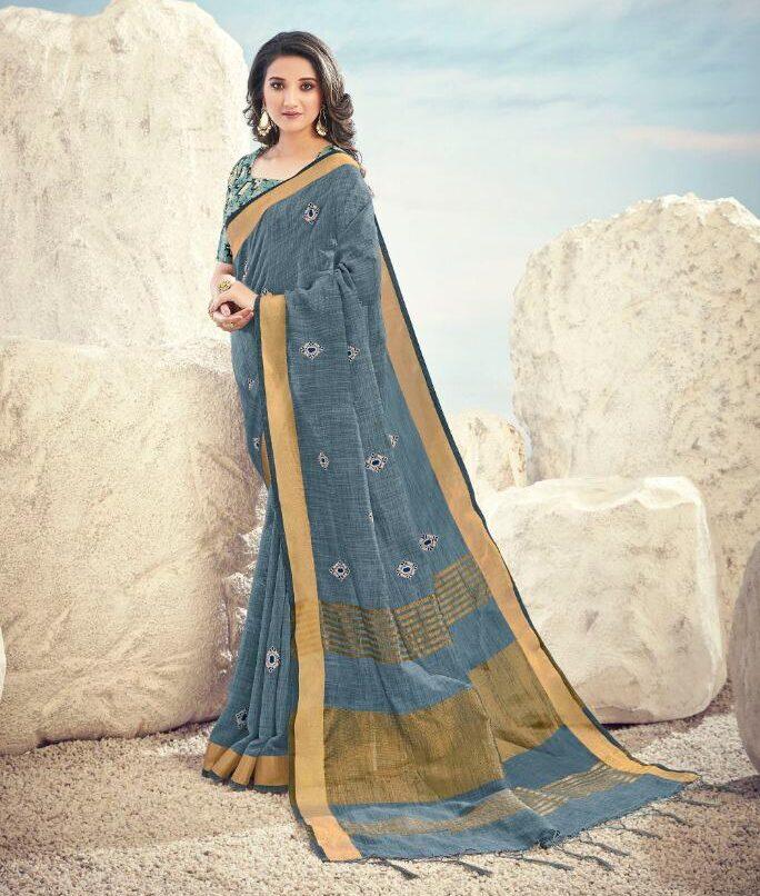 New designer light grey color saree with digital print blouse.New designer light grey color saree with digital print blouse.