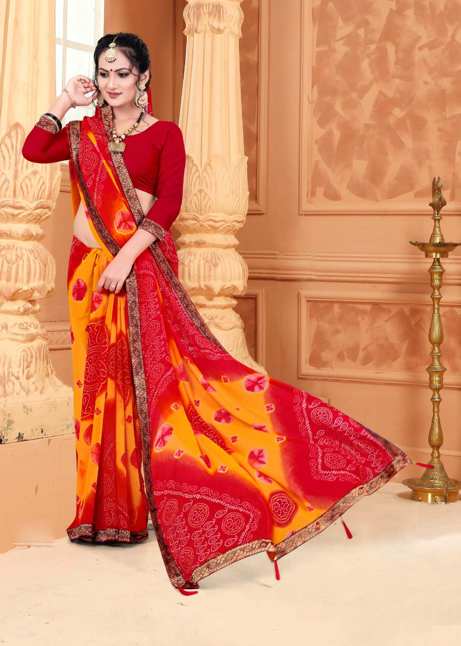New designer multi color casual wear silk saree with red blouse