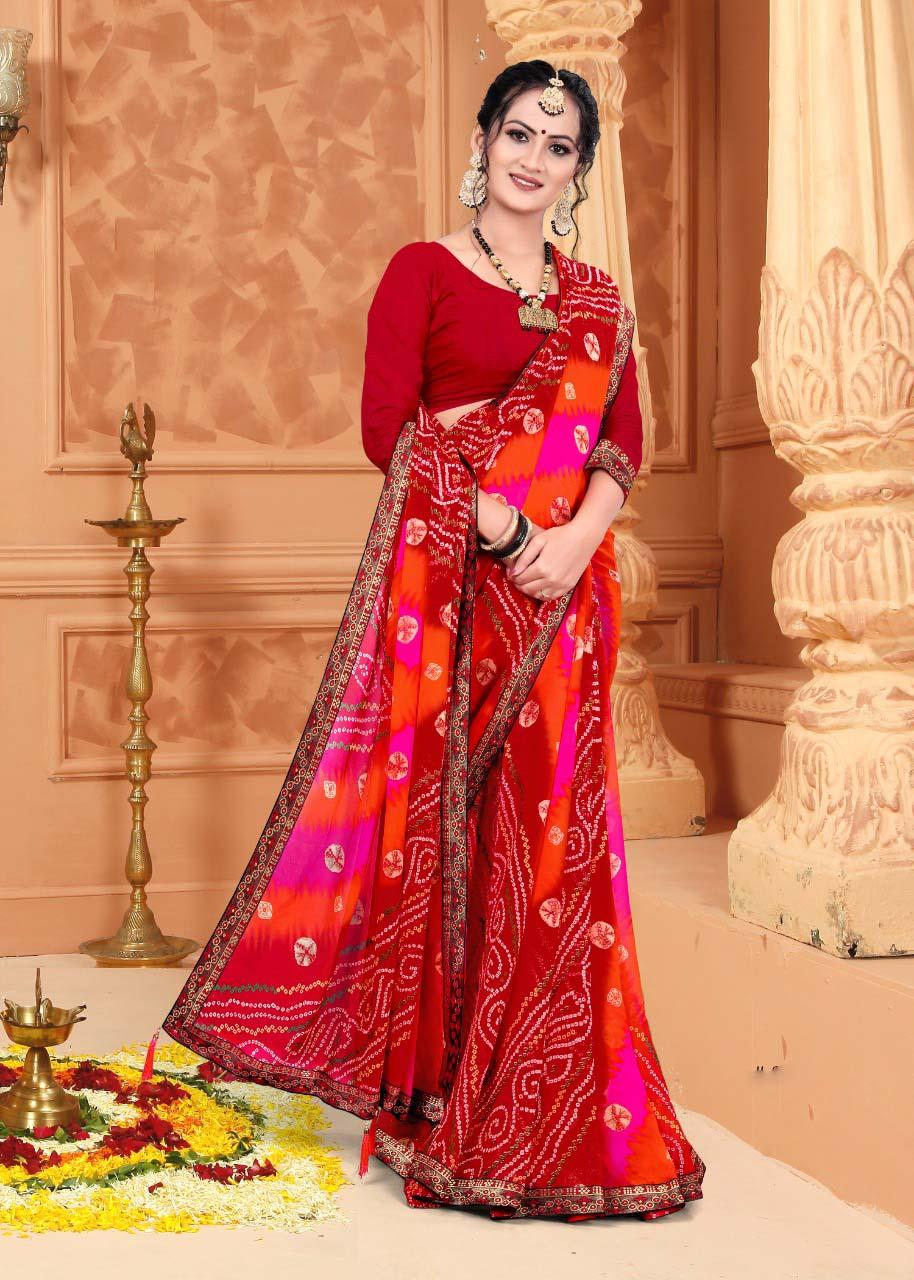 New designer multi color casual wear silk saree with simple blouse