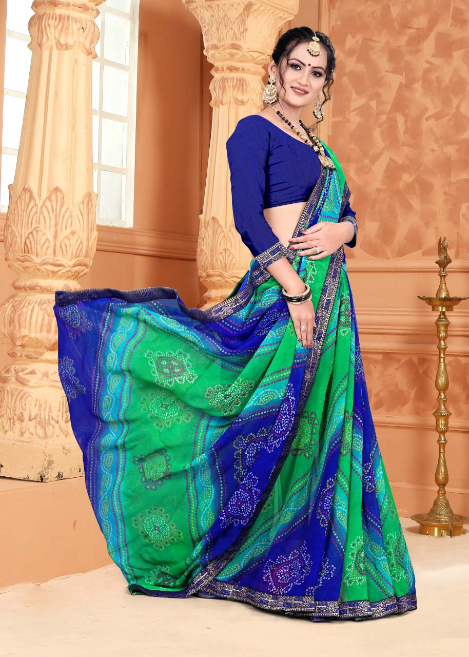 New designer multi sky color casual wear silk saree with simple blouse.