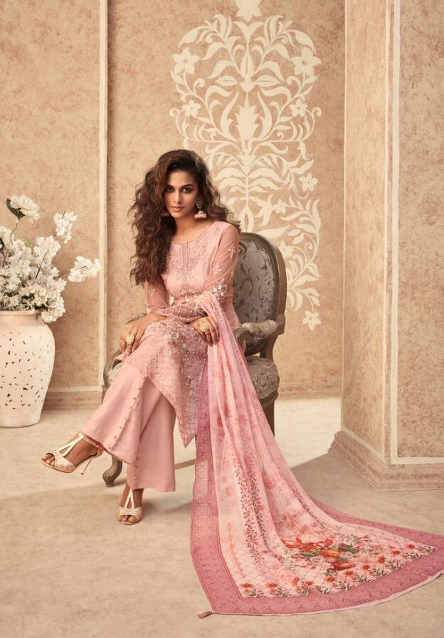 New designer pink color best embroidered suit with printed dupatta