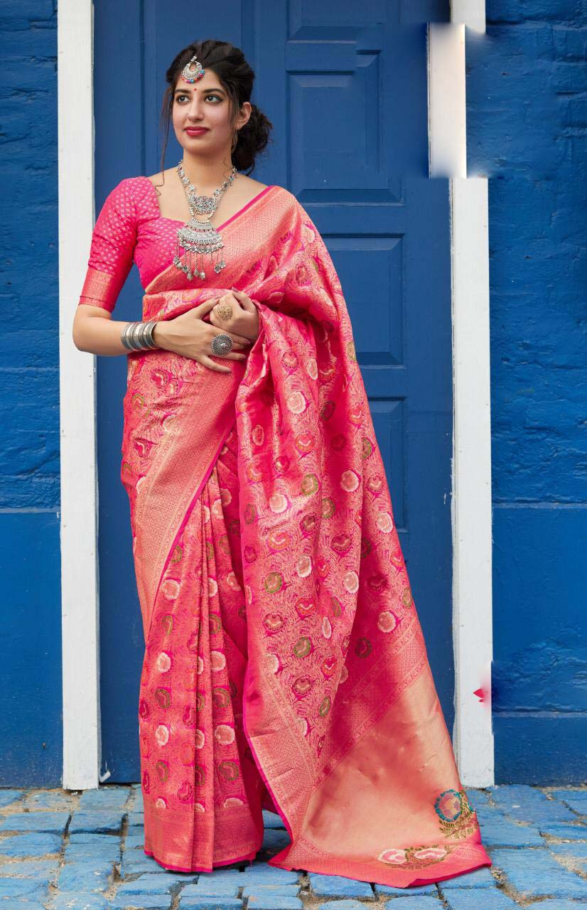 New designer pink color party wear silk saree with contrast blouse