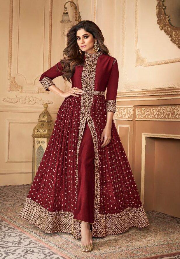 New designer red color best embroidered long salwar suit online