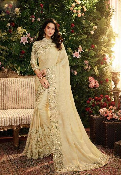 New designer white color heavy silk saree