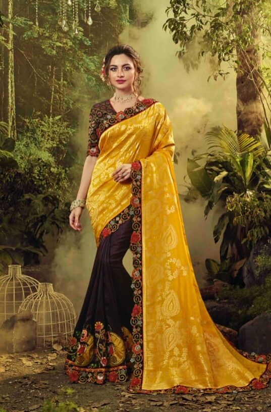 New designer yellow color fancy silk saree with fancy blouse.