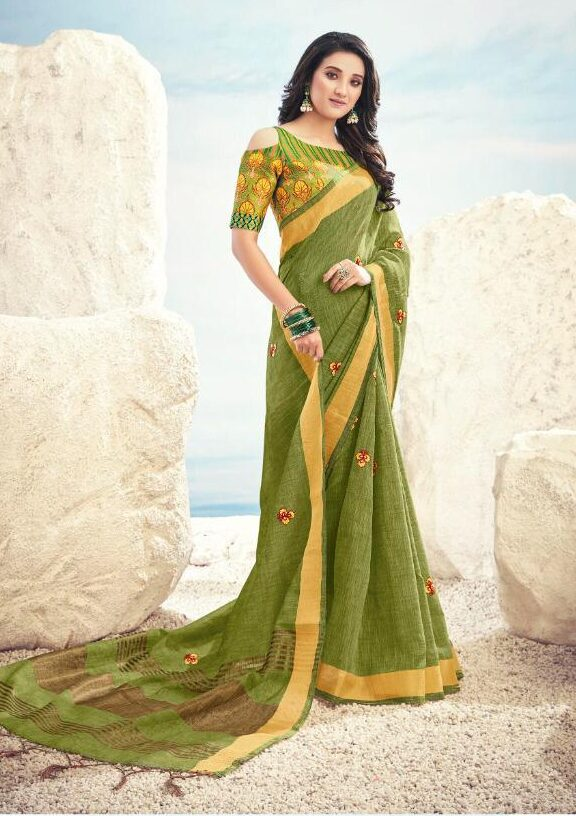 New embroidered light green color saree with digital print blouse.