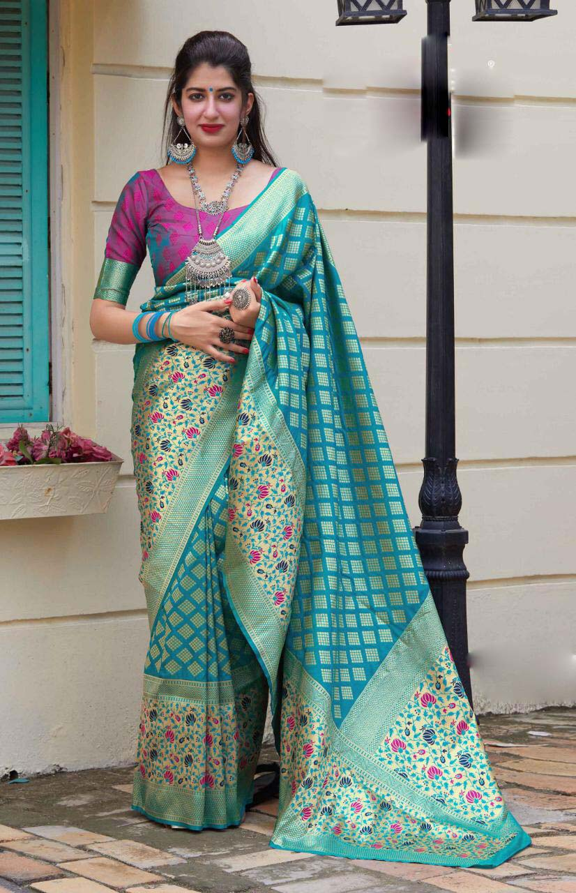 New look trendy fashion sky blue color party wear silk saree